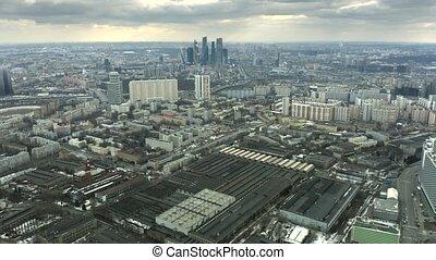 Aerial view of the cityscape of Moscow involving skyscrapers of business center, Russia