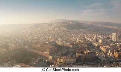 Aerial view of the cityscape of Naples, Italy