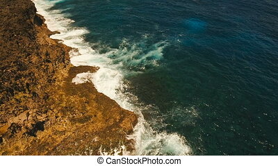 Aerial view of the cliffs and wave. Philippines,Siargao. -...