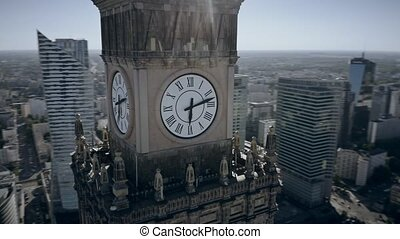 Aerial view of the clock with city coat of arms on historic...