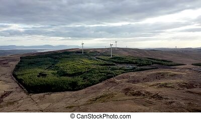 Aerial view of the Clogheravaddy Wind Farm in County Donegal - Ireland