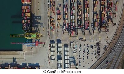 Aerial view of the commercial port of Valencia. Container...
