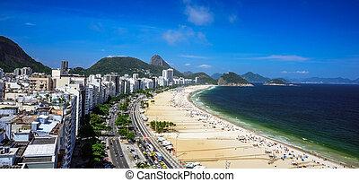 Aerial view of the Copacabana Beach, Forte Duque de Caxias and Sugarloaf Mountain, Rio de Janeiro