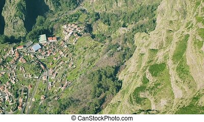 Aerial View of the Countryside in Mountains
