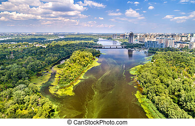 Aerial view of the Dnieper river in Kyiv, Ukraine - Aerial...