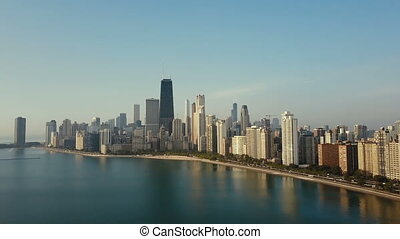Aerial view of the downtown of Chicago, America and Michigan...