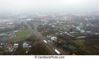 Aerial view of the drone flying of the old city of Lviv, Ukraine