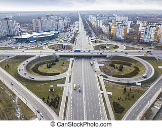 Aerial view of the drone on the road junction of Odessa ...