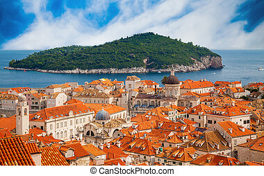 Dubrovnik old town with island Lokrum in a distance