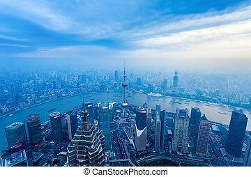 aerial view of the dusk scene in shanghai