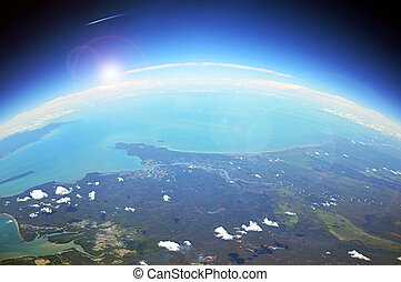 Land and the ocean - aerial view of the earth