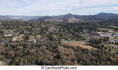 Aerial view of The East Canyon Area of Escondido, San Diego, California