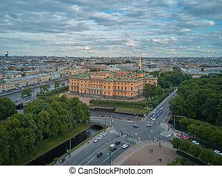 Aerial view of the Engineers' Castle, Saint Petersburg,...