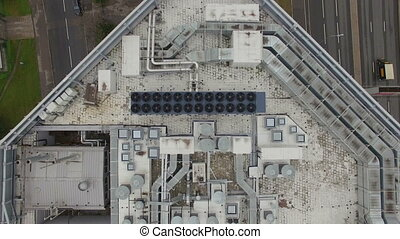 Aerial view of the equipment on the roof a modern building -...