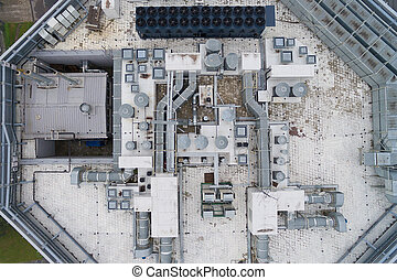 Aerial view of the equipment on the roof a modern building