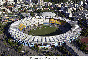 Aerial view of the Estadio do Maracana or Maracana Stadium in Rio de Janeiro, Brazil. Host the FIFA World Cup of 2014