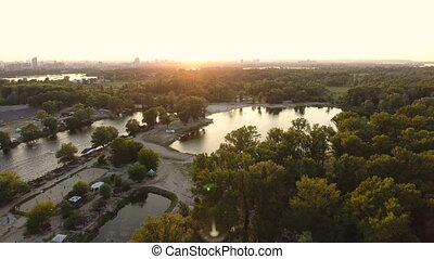 Aerial view of the evening city park