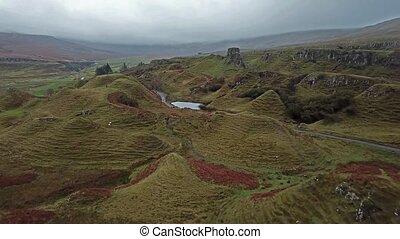 Aerial view of the Fairy Glen by Uig - Isle of Skye,...
