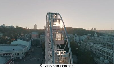 aerial view of the ferris wheel in city