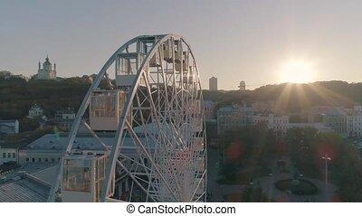 aerial view of the ferris wheel in Kiev
