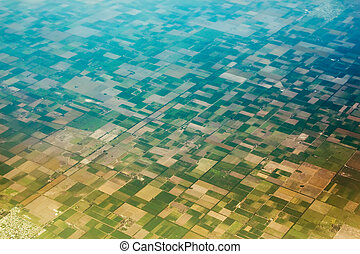 Aerial view of the fields. - Aerial view of the regularly ...