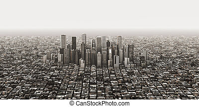 aerial view of the financial district 3d illustration