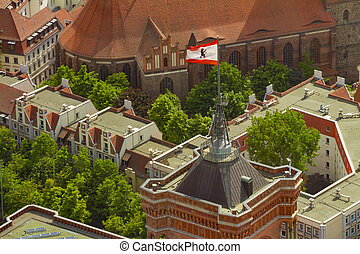 Aerial view of the flag of berlin on the top of Rotes...