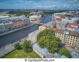 Aerial view of the Fontanka river, Saint Petersburg, Russia