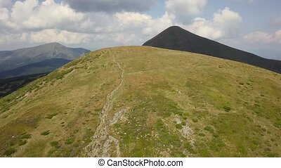 Aerial view of the footpath in the Carpathian Mountains