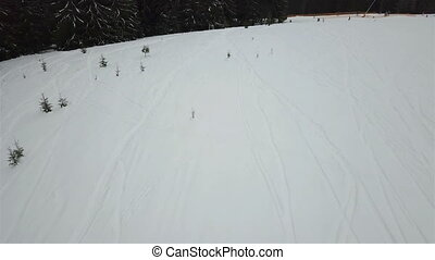 Aerial view of the freeride descent for skiers and...
