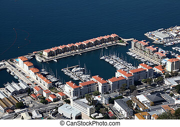 Aerial view of the Gibraltar marina
