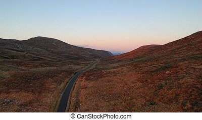 Aerial view of the Glenveagh National Park at sunset - County Donegal - Ireland.