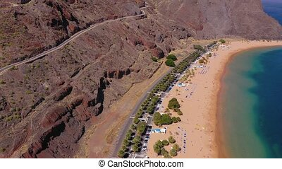 Aerial view of the golden sand and infrastructure of the beach Las Teresitas, Tenerife, Canaries, Spain