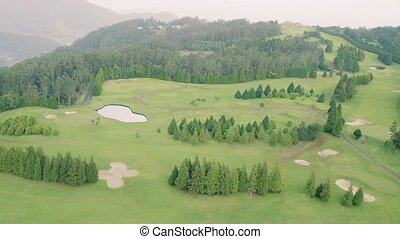 Aerial View of the Golf Course in Mountains
