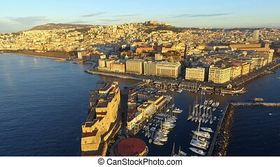 Aerial view of the Gulf of Naples with the Castel dell'Ovo...