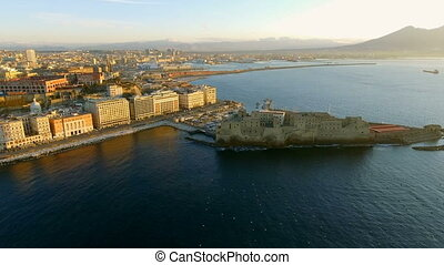 Aerial view of the Gulf of Naples with the Castel dell'Ovo on, Italy