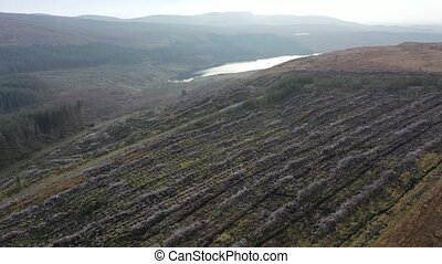 Aerial view of the Gweebaraa area at Muntermellan, Lough Doo and Lough Smulland - communication antenna.