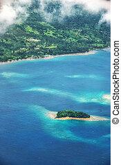 Aerial view of the heart-shaped island of Tavarua