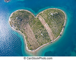 Aerial view of the heart shaped Galesnjak island on the...
