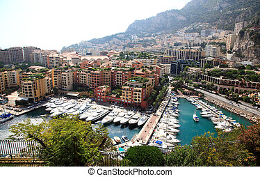aerial view of the high-rise apartments and marina in Monaco...