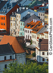 Aerial view of the historic center of Lublin, Poland.