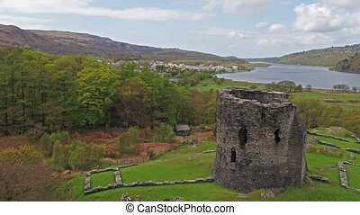 Aerial view of the historic Dolbadarn Castle in Llanberis,...