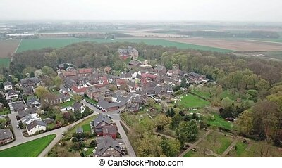 Aerial view of the historic old town Liedberg in NRW,...