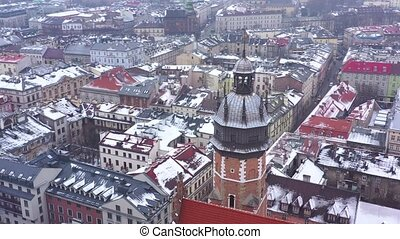 Aerial view of the historical center of Krakow, church, Wawel Royal Castle in winter