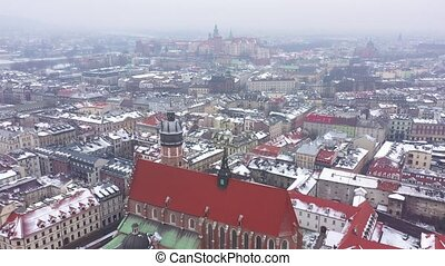Aerial view of the historical center of Krakow, church,...