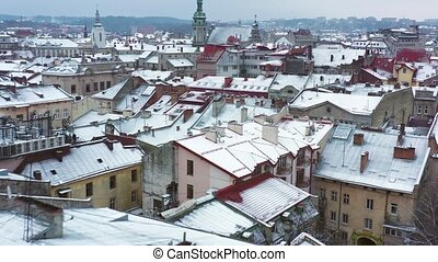 Aerial view of the historical center of Lviv in winter....