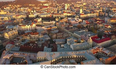 Aerial view of the historical center of Lviv. Shooting with drone