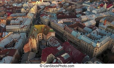 Aerial view of the historical center of Lviv. Shooting with...