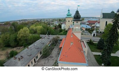 Aerial view of the historical center of Zhovkva, Lviv region, Ukraine. Shooting with FPV drone