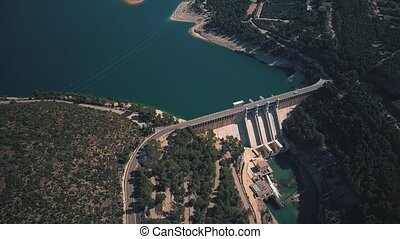 Aerial view of the hydroelectric power plant and the dam -...